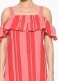 Only Askılı Çizgili Elbise Kırmızı